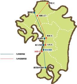 九州新幹線・高速道路図