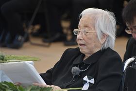 患者・遺族代表の上野エイ子さんによる祈りの言葉